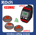 433.92mhz Electronic Number Display System for tea house W 2pcs wrist watch pager + 30pcs transmitters Freeshipping by EMS/DHL