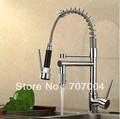 New chrome finish Solid Metal Kitchen Sink faucet Two Spouts Spring Kitchen Mixer Tap 2 Spouts Kitchen Water tap