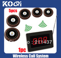 DHL freeshipping Waiter call systems for customer getting attendant by pressing a table button W 1Receiver ad 5Call Button