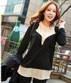 Fat Women Plus Size 3xl Colorblock Long Sleeve Black Tshirt Free Shipping d5309
