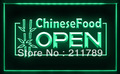 FB010 B OPEN Chinese Food Displays Cafe LED Light Sign