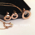 Free shipping SONLIN Factory price wholesale Gold Plated titanium steel jewelry sets:necklace+earring HS002