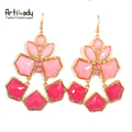 Artilady 14k gold drop earrings with pink crystal 2013 new fashion classical earrings statement jewelry