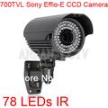 78 IR Security Surveillance Outdoor Waterproof CCTV Camera 700TVL SONY EFFIO-E CCD 2.8-12mm Lens