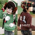 Best Selling!!cotton fleece fashion fist boys sweatshirt kids hoodie green children outerwear free shipping