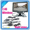"""Newest Car parking sensor wireless rear view camera with monitor 7""""tft Color LCD For Auto Reversing Backup with Night vision"""