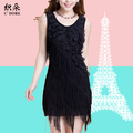 2g Black flower tassel sleeveless tank slim elegant chiffon one-piece summer 2013 dress