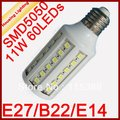 10pcs/lot 11W LED Corn Light Bulb, AC85-240V, 60 SMD5050, Replacement of 50W Fluorescent Lamp [Housing Lighting