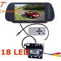 "7"" Car Monitor Mirror Car Rearview Kit + Waterproof 18 LED IR Car Reverse camera Night vision Free Shipping"