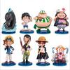 Drop Free Shipping Q Style ONE PIECE Toy Prototype,Straw Hat Legion,PVC Models,5-10cm,8PCS/SET
