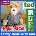 "18"" Teddy Bear with suit Plush Dolls Man's Ted Bear Stuffed Plush Toys freeshipping"