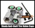 Free shipping Car Logo emblem Anti-theft Tire Valve Caps for Skoda Octavia metal Tire Valve Stem Caps easy DIY decoration