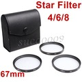 67mm 67 Star Filter 4 6 8 Point line Kit with Case Bag for Canon Nikon Pentax Camera F06