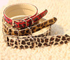 Hot sale Pet collar,Top quality leopard print Soft Genuine Dog Collar 3 Color,size S,M,L- Free shipping