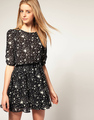 Free shipping Fashion Star printed balck Women's dress with the belt 6sizes all in stock