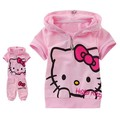 Free shipping Hot selling children clothes suit baby girl's hello kitty short sleeve set kid sets
