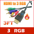 Gold HDTV HDMI to 3 RGB Adapter Cable 3ft 1M