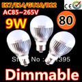 80pcs/lot Retail Dimmable Bubble Ball Bulb AC85-265V 9W E14 E27 B22 GU10 High power Globe light LED Light Free FEDEX and DHL