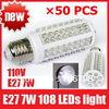 X50PCS Ultra Bright 6000-6500k E27 7W 110V 108 LEDs Light Bulb Corn light LED Lamp, free shipping
