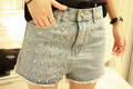 Fashion Summer High Waist Women Denim Shorts 2013 Rivet Jeans Lady Denim Shorts Plus Size