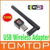 150M USB WiFi Wireless Dongle Network Card 802.11 n/g/b LAN Adapter with Antenna C1289 Free Shipping Wholesale