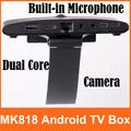 2pcs/lot! MK818 Android TV BOX Rockchip RK3066 Dual Core Mini PC Webcam MIC Bluetooth Earphone Port 1GB RAM 8GB ROM Free DHL