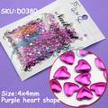 4mm Purple Heart Shape Metal Stud Rhinestones Handcraft DIY 3D Decoration Acrylic Nail Art Dropshipping [Retail] SKU:D0380