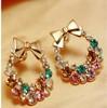 5pairs/1Lot 2014 New Fashion Imitation Diamond Colorful Rhinestone Bow Earrings  XY-E200