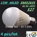 4pcs/lot Retail Bubble Ball Bulb SMD2835 15/25/35/40LED 6W/9W/12W/15W E27 High power Energy Saving Ball steep Free shipping