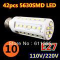 10pcs/lot Retail 12W 42LED 5630 SMD E27 E14 B22 Corn Bulb Light Maize Lamp LED Light Bulb Lamp LED Lighting Warm/Cool White