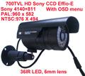 700TVL SONY CCD Effio-E 36LED OSD MENU CCTV Indoor/Outdoor security IR CCTV Camera with bracket+free shipping