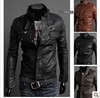 FreeShpping 2013 new men's leather jacket Slim leather jacket PU 3 color 4 size hot sale,men's coat,men's jacket.
