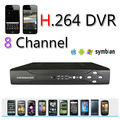free shipping 960H output with HDMI Interface 8 channel H.264 network cctv dvr recorder ,2*D1+6*CIF realtime recording,dvr cms