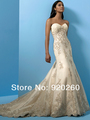 Mori Hot 2013 White A-Line Satin Appliques Wedding dresses\Wedding Gown Bride Dresses BridalGown