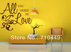 [Stay With You]Free shipping ALL YOU NEED IS LOVE vinyl wall sticker for living room 24*24inches