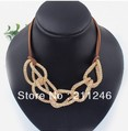Hotsale Wholesale Lady LEATHER CHAIN Alloy NECKLACE Fahion Necklace Jewelry High Quality Free Shipping