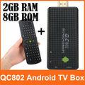 QC802 Mini PC Quad Core RK3188 Cortex-A9 Bluetooth Wifi Android TV Box 4.2 DDR3 2GB/ 8GB HMDI XBMC With RC11 Wireless Keyboard