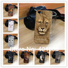 lovely lion dog cat leopard tiger panda wolf plastic hard back shell for iphone 4 4S 5 animal cell phone case mobile case 10pcs