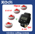 Coffee shop wireless waiter call system of 1pc watch pager K-300 and 10pacs waiter call buzzer O3-R 100% waterproof