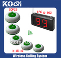 Waiter Bar wireless ordering system W 1pc K-302 flashing pager and 20pcs 100% waterproof buzzer free shipping by EMS/DHL