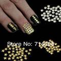 Free Shipping,1000pcs 5mm, silver golden star 3D metal nail art decoration spike Studs Rivet Sticker ,Leather craft DIY Rivet