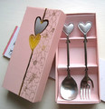Free Shipping 10Pcs/Lot Pengs home gifts stainless steel personalized romantic lovers heart fork spoon dinnerware set
