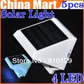 5pcs/lot Solar Power 4LED Outdoor light corridor wall lamp