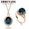 Top Quality ZYS109 18K Gold Plated Blue Austrian Crystal Jewelry Set With 2 Pcs 1 Ring + 1 Necklace