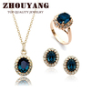 Top Quality ZYS110 18K Gold Plated Blue Austrian Crystal Jewelry Set With 3 Pcs 1 Nicklace + 1 Ring+ 1 Earring