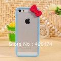 2pcs/lot Hello kitty 3D Cute Bow Plastic Hard Case Cover Bumper Frame for Apple iPhone 5 5G, Free shipping