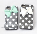 Black TPU soft cell phone case with white dots and resin bow for iphone5 iphone4 / iphone 5 5S 5S 4 4S
