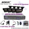 4CH D1 DVR 4CH CCTV Security Camera System 600TVL Outdoor Day Night IR Camera DIY Kit Color Video Surveillance System