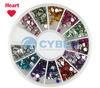 Heart Shape 12 Colors Nail Art Rhinestones For UV Gel Glitters Acrylic Tips Decoration 16122