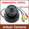 Free Shipping to RU!2013 Newest most popular Surveillance Audio 700TVL (420TVL) Color IR Indoor Dome CCTV Security Camera